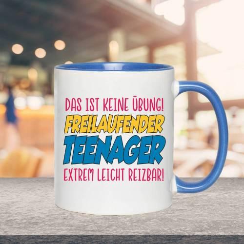 Tasse mit Spruch, Freilaufender Teenager, 2-farbig, Weiß-Blau