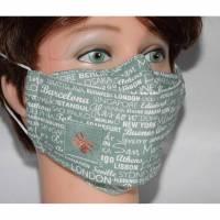 Waschbare Community-Maske Hauptstädte grün Alltagsmasken Designer Mund-Nase-Masken Behelfsmasken Gesichtsmasken mit Filtertasche Nasenbügel Brillenträger - handgenäht für Damen, Kinder und Herren Bild 1