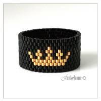 Peyote Ring mit Krone | Bandring | Miyuki Delicas 15/0 | schwarz - gold | 24k gold plated | Breite ~12mm | #CROWN1 Bild 1