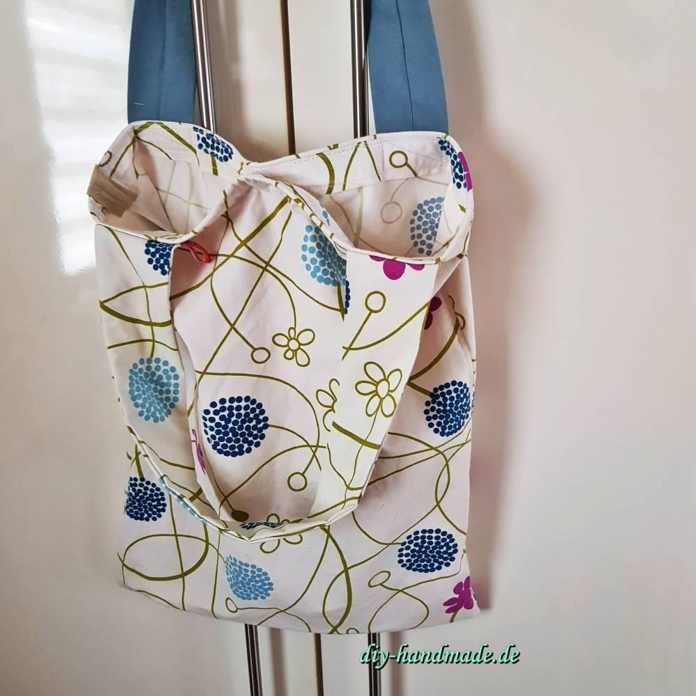 zero waste - Einkaufstasche, Stofftasche mit Verschluss und breiten Tragegriffen Bild 1