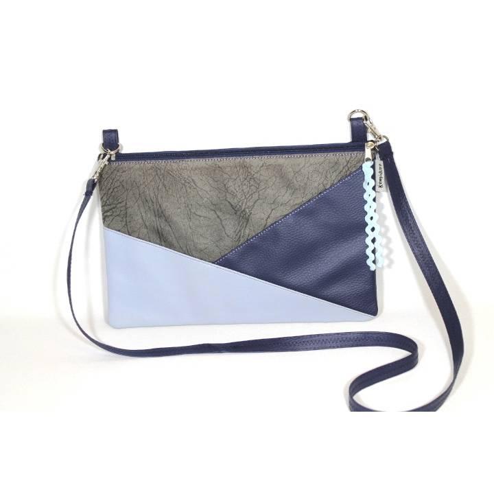 Tasche PEC in grau und blau im Geodesign mit Reißverschluss Bild 1