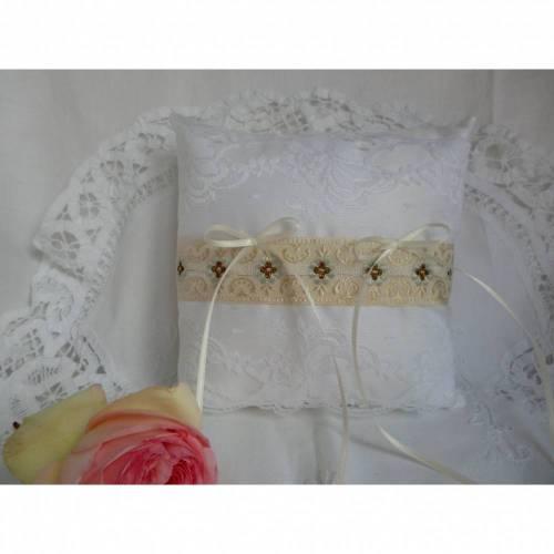 Hochzeit - edles Ringkissen in weiß - für den schönsten Tag - genäht von Patchwerk