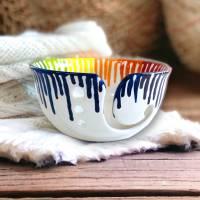 Garnschale, Wollschale, Schale für Wolle, groß, Keramik handbemalt, Regenbogen Dripping Bild 1