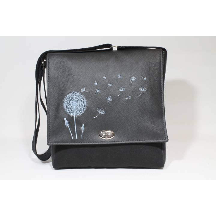 """Tasche """"TAX"""" in schwarz mit Stickerei Pusteblume und Drehverschluss Bild 1"""