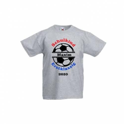 T-Shirt zur Einschulung mit Fußball Schulkind erstklassig mit Name