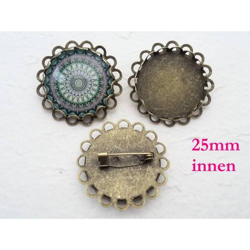 Brosche Rohling bronze, 25mm