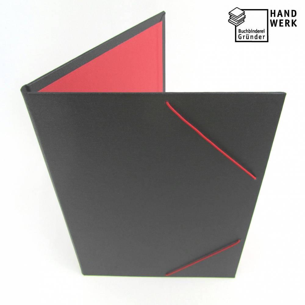 Eckspannermappe, DIN A4, schwarz hellrot, Sammelmappe, handgefertigt Bild 1