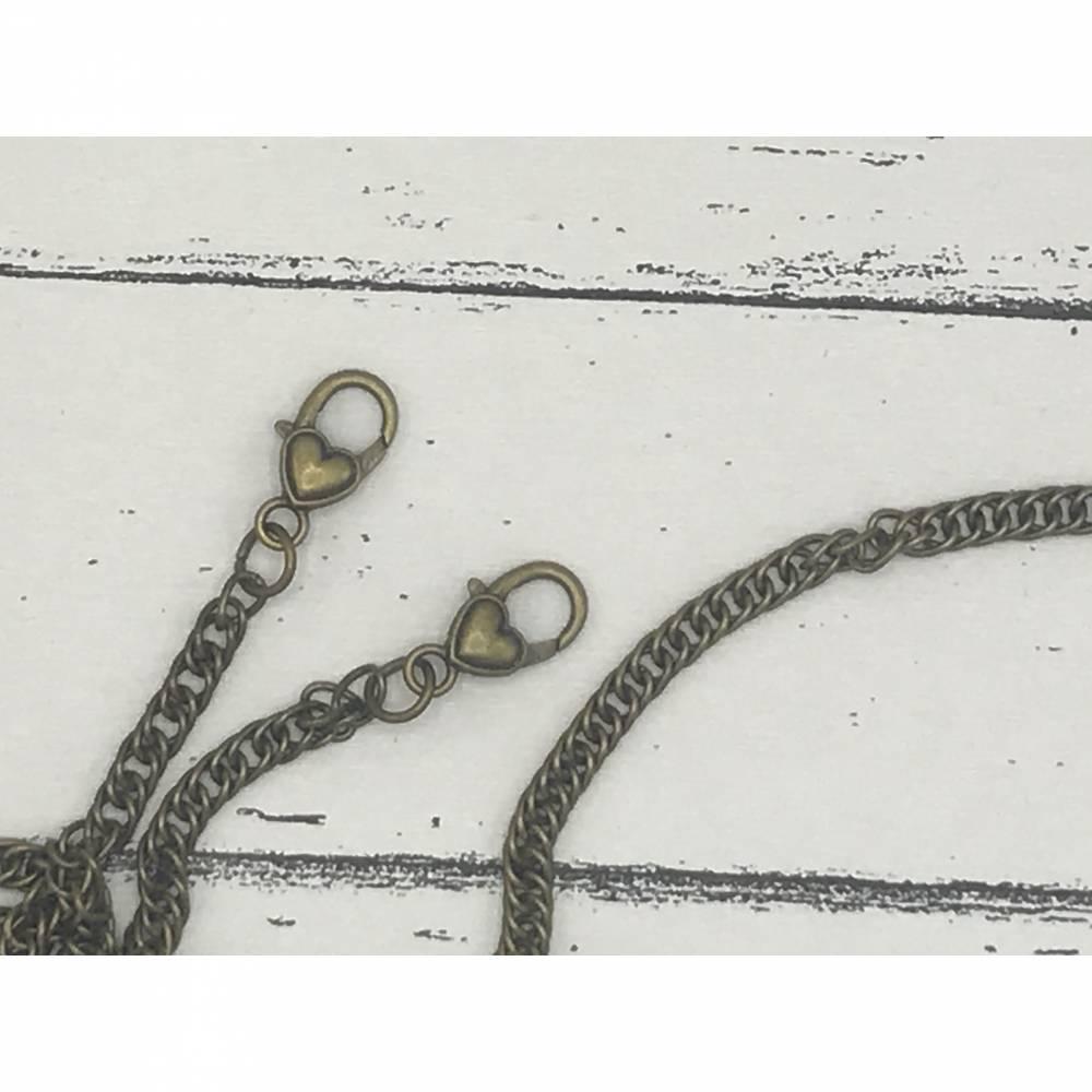 Taschenkette Taschenträger Handtaschenkette Kette für Taschenbügel Farbe Messing mit Herz Karabinerverschluss Bild 1