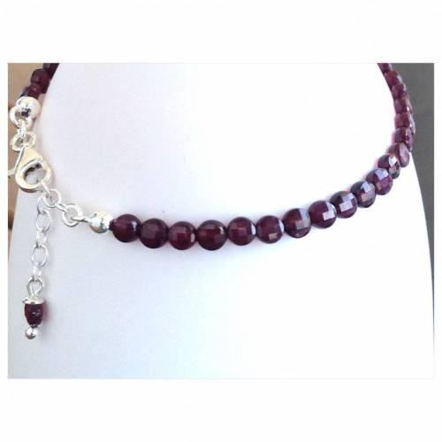 Granat ganz pur • Armband aus facettierten kleinen Granaten in Münzform • Länge variabel durch Verlängerungskettchen