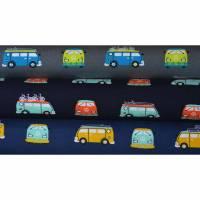 Jersey mit VW Bus Bulli 50 cm x 150 cm Baumwolljersey 3 Farben grau marine Bild 1