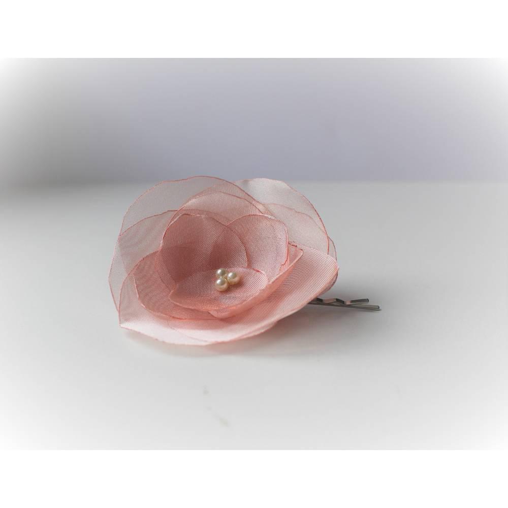 Braut Haarblüten, schlichte Haarschmuck, pfirsich ,Wedding ! Bild 1