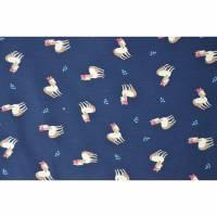 Jersey mit Pferden Pony  50 cm x 145 cm Nähen Stoff marineblau Bild 1