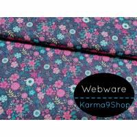 0,5m Webware Blumen rosa dunkelblau Bild 1