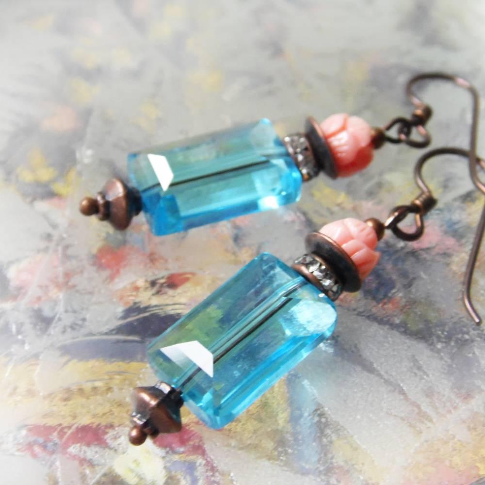 Kristall Ohrringe blau rosa - hypoallergene Niob Ohrhänger Lotos Bild 1