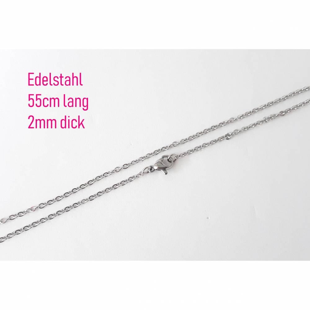 Gliederkette Edelstahl 55cm lang, 2mm breite Glieder inkl. Karabinerverschluss Halskette, Silberkette, Edelstahlkette Bild 1