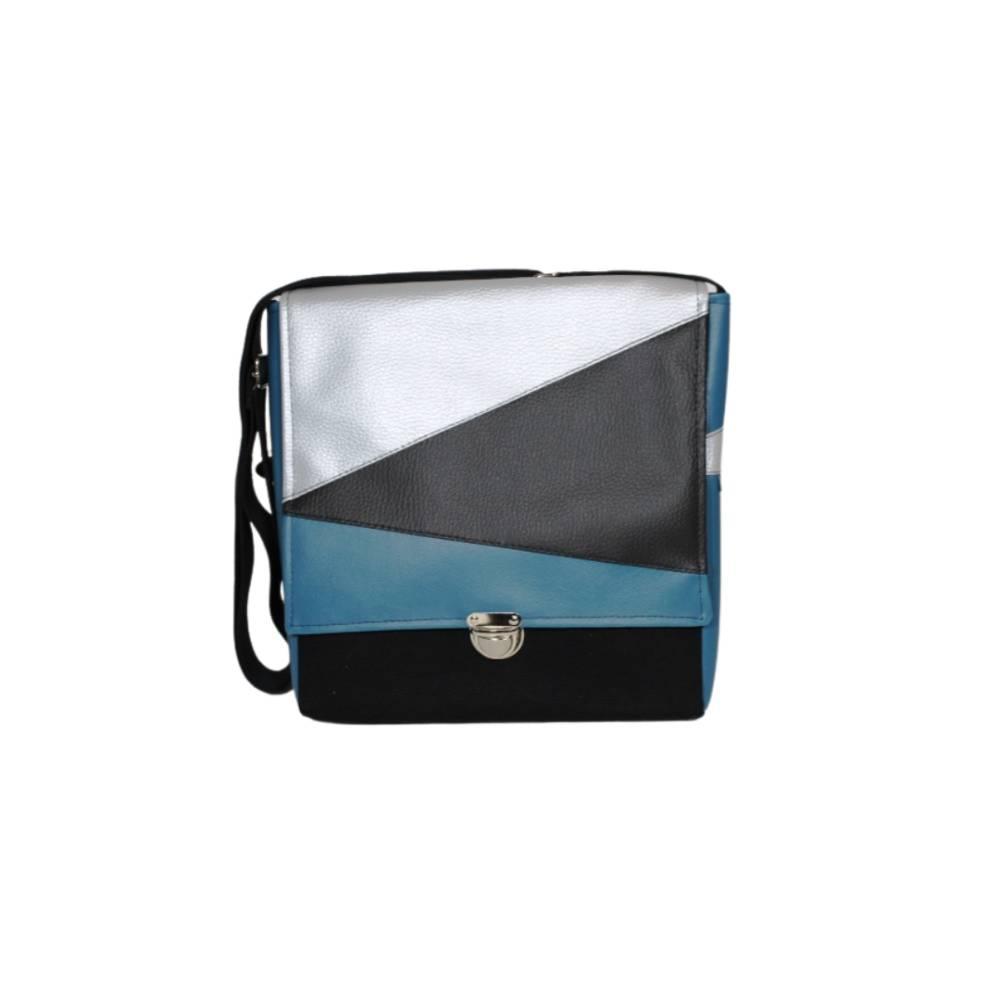 """Tasche """"TAX"""" in schwarz, silber und petrol im Geodesign mit Mappenschloss Bild 1"""