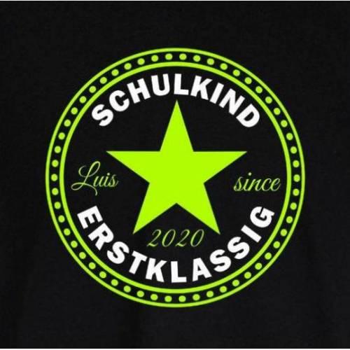 T-Shirt zur Einschulung mit Stern Schulkind erstklassig mit Name