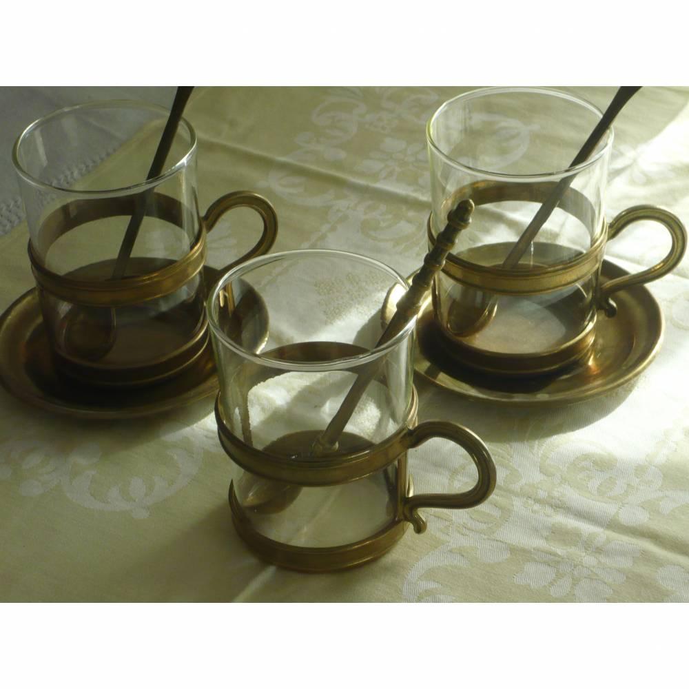 Teegläser Teetassen vintage Messing 50er Gläser Groggläser Bild 1