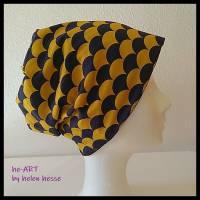 Beanie-Loop - gleichzeitig Mütze und Loop - KU 56, genäht aus Jersey in lila-senf, von he-ART by helen hesse Bild 2