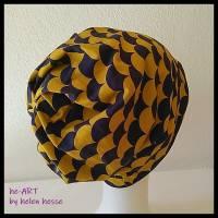 Beanie-Loop - gleichzeitig Mütze und Loop - KU 56, genäht aus Jersey in lila-senf, von he-ART by helen hesse Bild 3