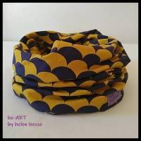 Beanie-Loop - gleichzeitig Mütze und Loop - KU 56, genäht aus Jersey in lila-senf, von he-ART by helen hesse Bild 6