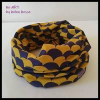Beanie-Loop - gleichzeitig Mütze und Loop - KU 56, genäht aus Jersey in lila-senf, von he-ART by helen hesse Bild 7