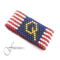 QAnon Ring | WWG1WGA | Peyote Ring im modischen Design | Bandring | Miyuki Delicas 11/0 | rot - weiß - blau | 24k gold p Bild 1