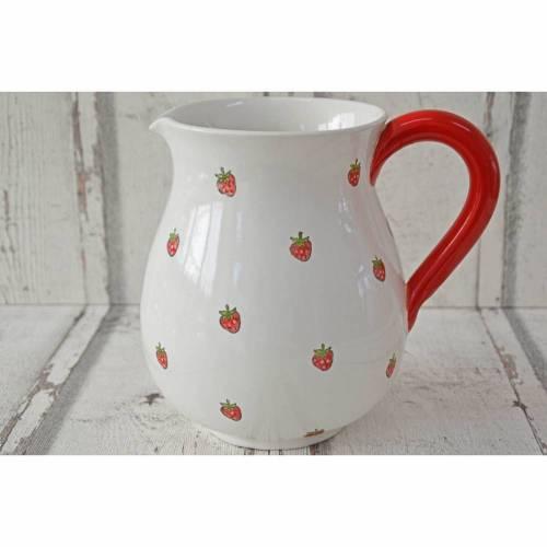 Krug mit Erdbeeren, 1l, Keramik handbemalt