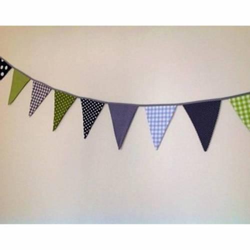 Wimpelkette • Wimpelkette mit Namen • Blau/Grau/Grün • ab 100cm •