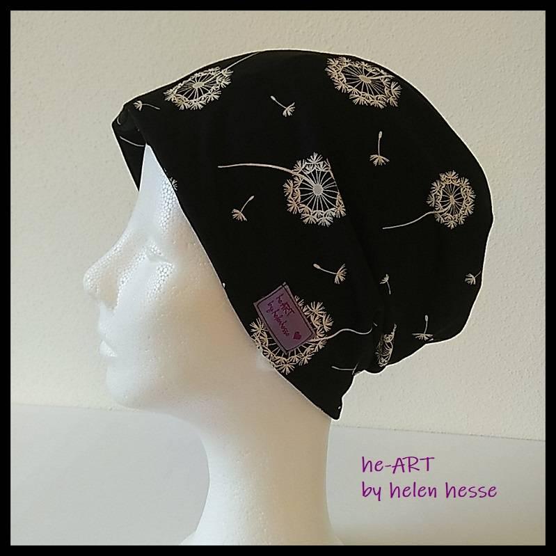 Beanie-Loop - gleichzeitig Mütze und Loop - KU 56, genäht aus Jersey in schwarz-weiß, von he-ART by helen hesse Bild 1