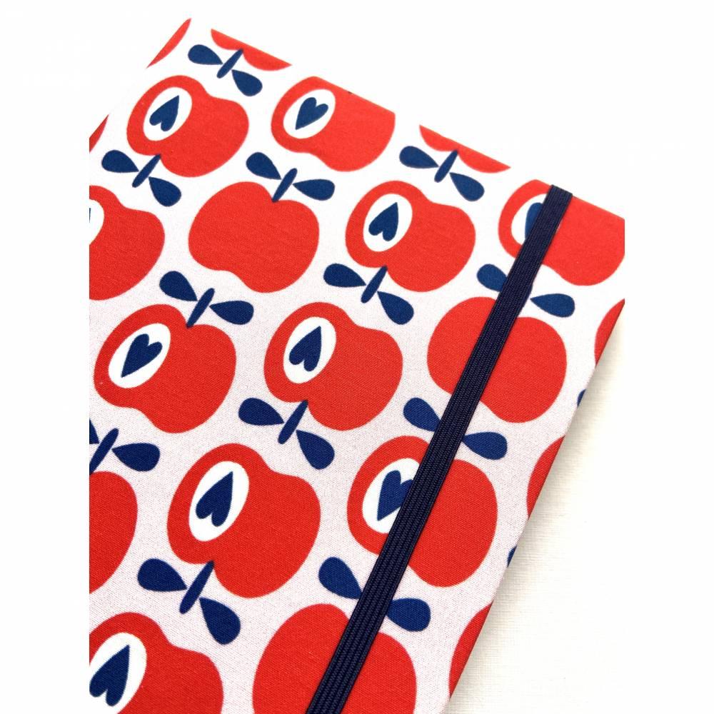 """Notizbuch Rezeptbuch """"Apples&Hearts"""" A5 Hardcover stoffbezogen Äpfel Birnen Retro Retrofan Retroliebhaber Geschenk Geschenkidee Geschenkartikel Bild 1"""