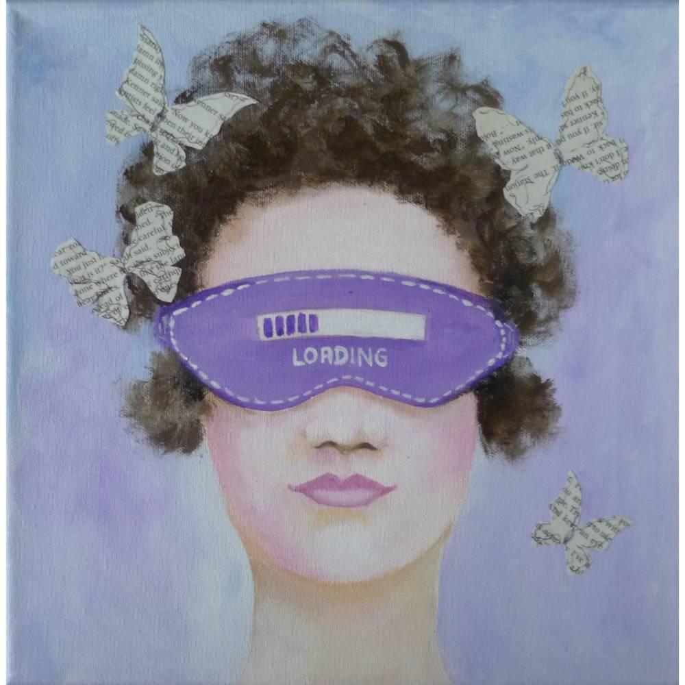 Acrylbild Frauenportrait lila blau Original Wandbild Collage Bild 1