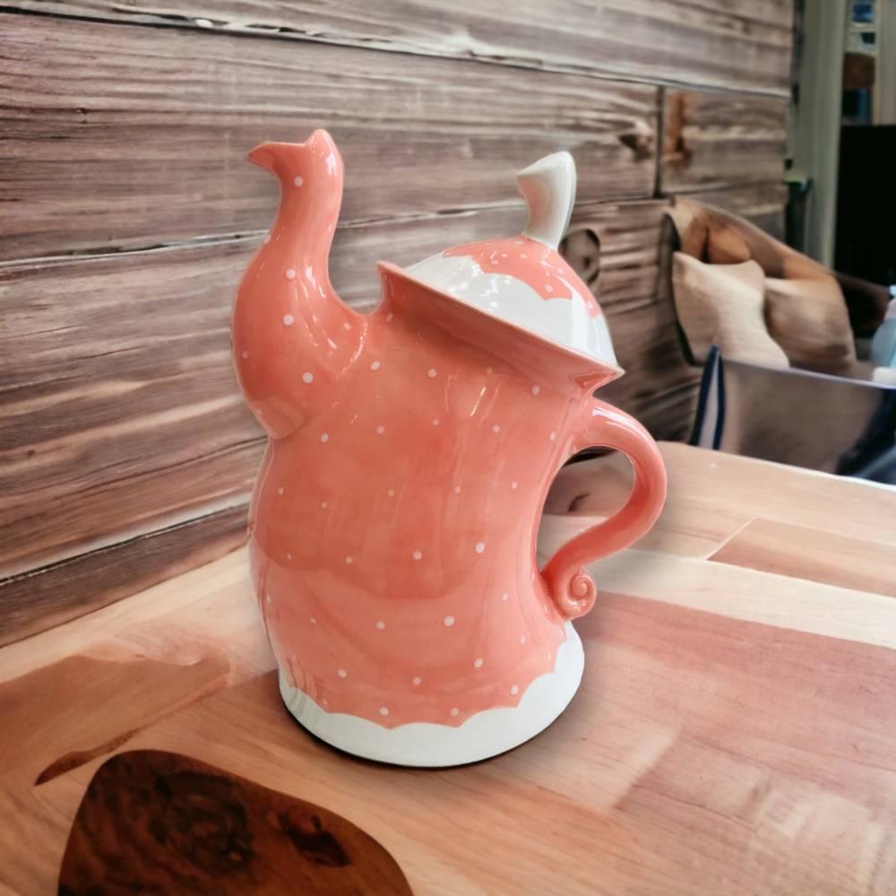 tanzende Teekanne ,Koralle mit weissen Punkten, 1,5l, aus Keramik, handbemalt Bild 1