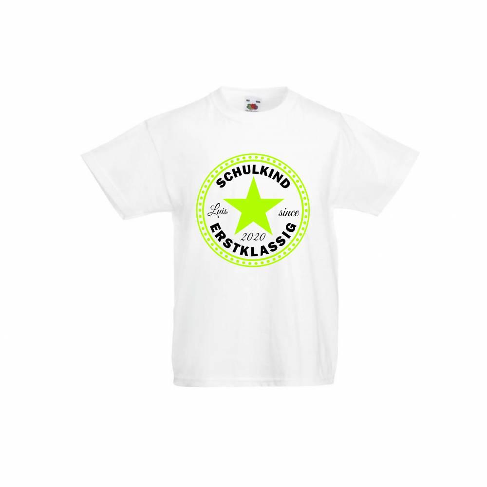 T-Shirt zur Einschulung mit Stern Schulkind erstklassig mit Name Bild 1