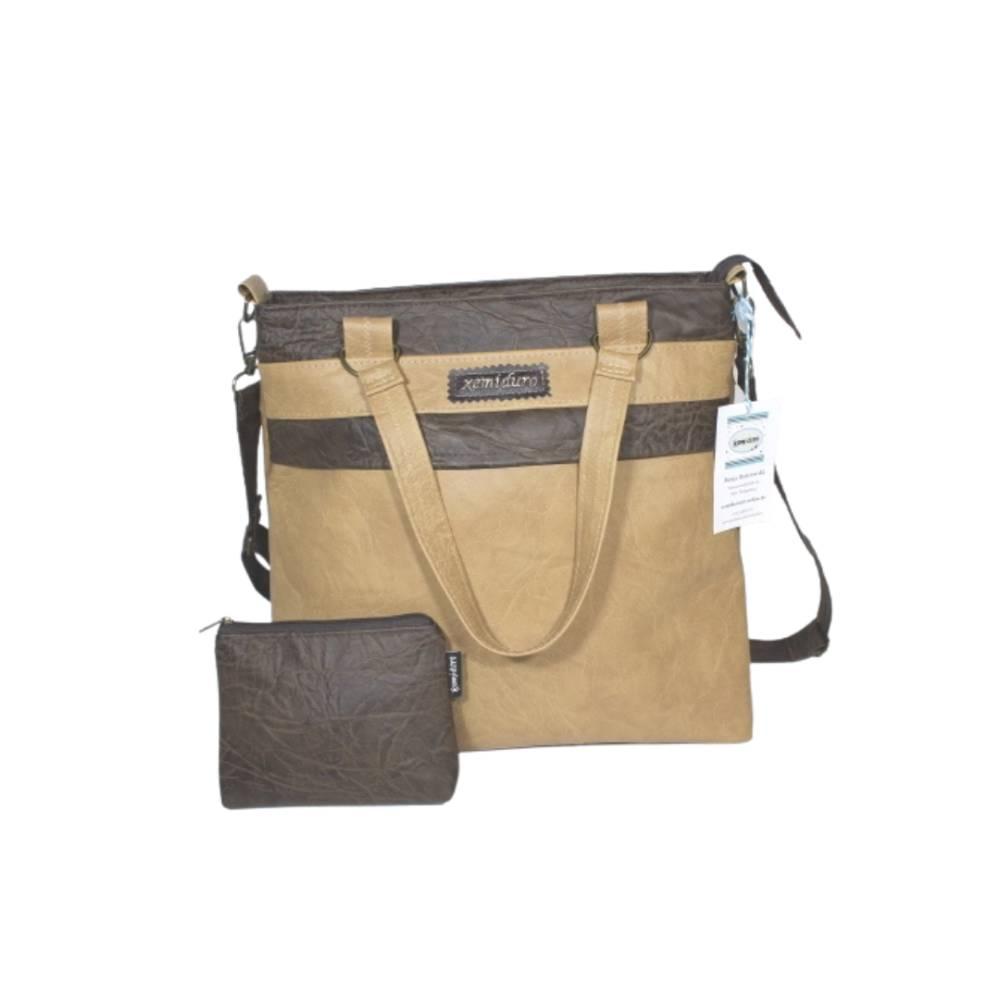 Handtasche und Mäppchen in braun und dunkelbraun Bild 1