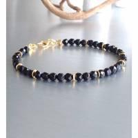 Mystic Black • Onyx-Armband facettiert mit goldenen Akzenten • Karabinerverschluß 925 Silber, vergoldet Bild 1