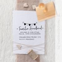 Familienstempel mit Wimpelkette - Adressstempel - Stempel mit Anschrift - Holzstempel mit Ihren Namen und Adresse - 6 cm x 4 cm - Motiv: 309 Bild 1