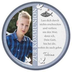 Tortenbild Tortenaufleger Zuckerbild Kommunion Konfirmation Jugendweihe Jungen Blau Fisch Tauben Wunschtext Foto