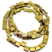 HÄMATIT | Tila Beads | Zweilochperlen | 5 x 5 mm | goldfarbig | 1 Strang | ~ 80 Stück | Naturstein | Mineralien | #870766 Bild 1