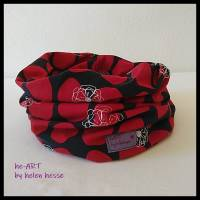 Beanie-Loop - gleichzeitig Mütze und Loop - KU 56, genäht aus Jersey in rot-dunkelblau, von he-ART by helen hesse Bild 6