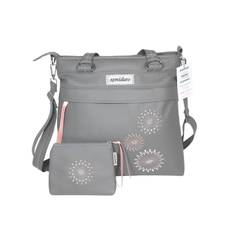 Handtasche und Mäppchen in grau mit Stickerei Bild 1