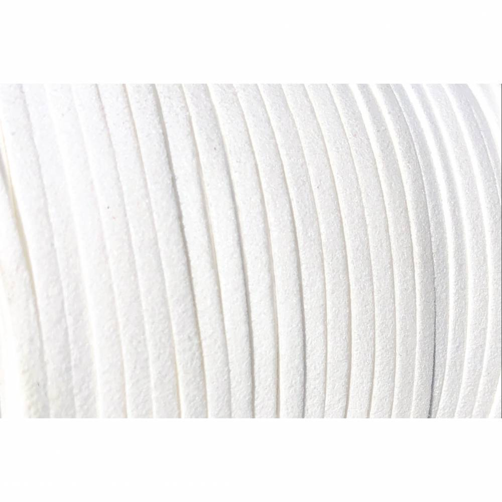 Veloursband, Wildlederoptik, weiß, 3mm breit, flach, 5 Meter Bild 1
