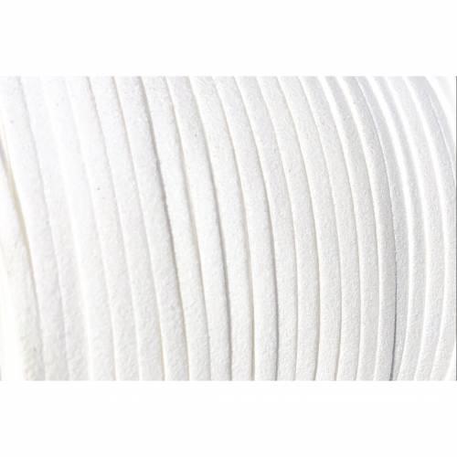Veloursband, Wildlederoptik, weiß, 3mm breit, flach, 5 Meter