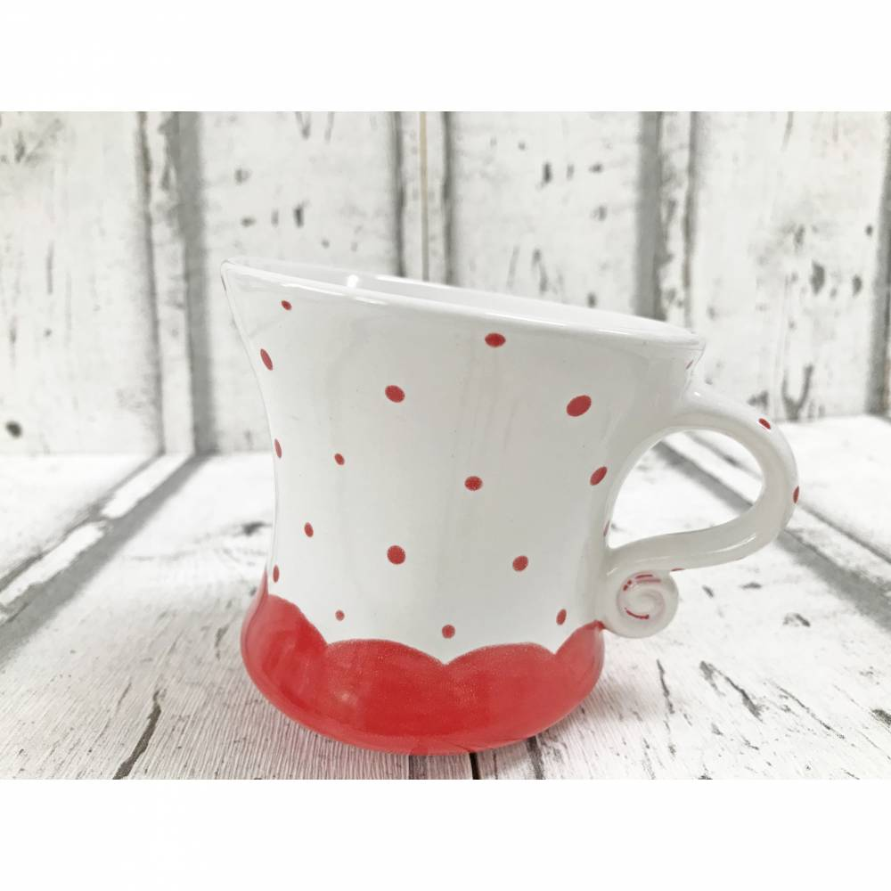 Tanzende Tasse, Teetasse,Kaffeetasse,weiss rot, Punkte, 250ml, Keramik, handbemalt Bild 1
