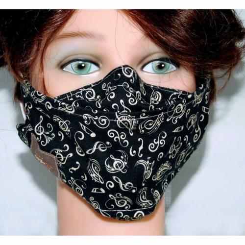 Waschbare Designer-Maske Noten schwarz Musiker, Partner-Look Mund-Nasen-Masken Behelfsmasken Communitymasken Alltagsmaske Gesichtsmaske mit Nasenbügel Filtertasche Brillenträger, atmungsaktiv handgenäht für Damen Herren Kinder