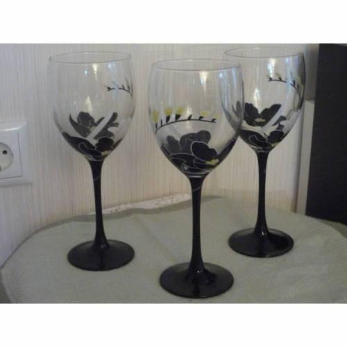Weingläser 3 Weingläser  70er Vintage Weissweingläser schwarz Gläser