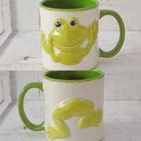 Tasse, Kaffeetasse, Frosch, 350 ml groß, Keramik handbemalt Bild 1