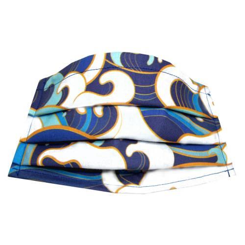Behelfs-Mund-Nase-Maske Gr. M *Waves* Behelfsmaske, Mundschutz Baumwollstoff mit Nasenbügel waschbar 60°