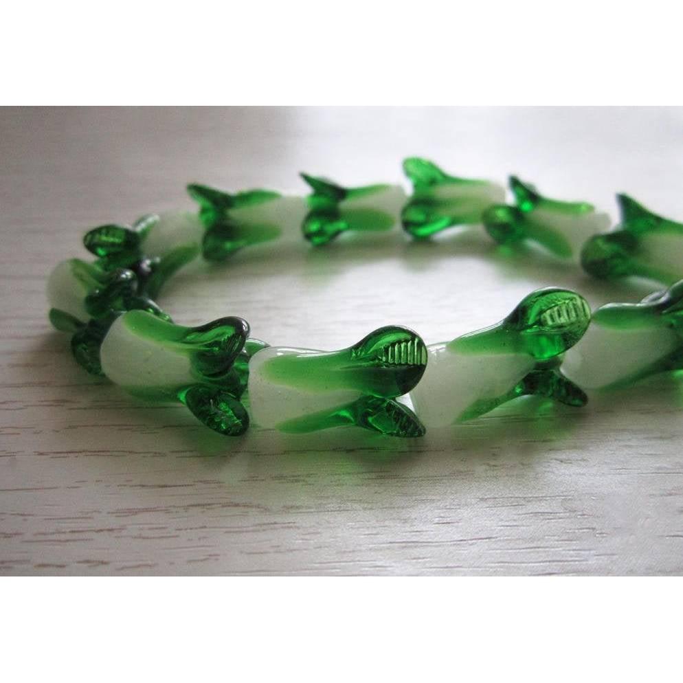 2 Stk. Design Blume handgemachte Murano Glasperlen 10 mm x 20 mm in grüne Farbe Bild 1