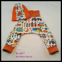 """2-teiliges Babyset """"Bauernhof"""" Doppelgröße 74/80, genäht aus Jersey in orange-bunt, von he-ART by helen hesse Bild 1"""